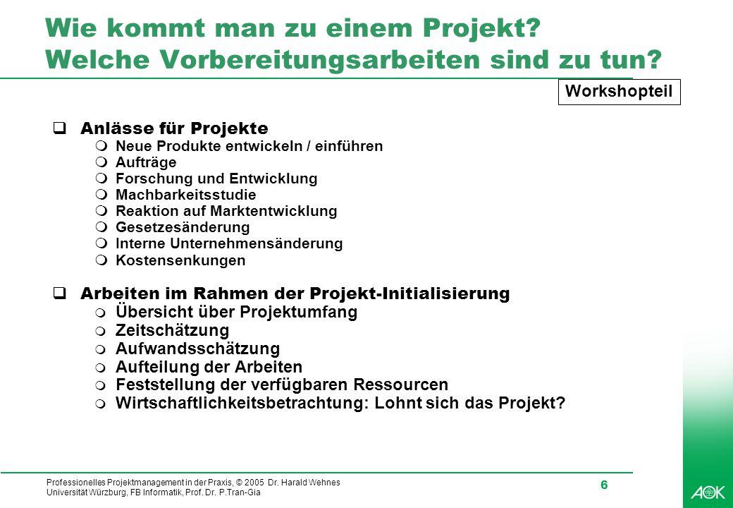 Wie kommt man zu einem Projekt