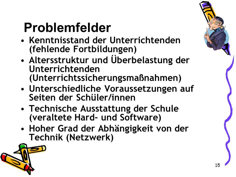 Problemfelder Kenntnisstand der Unterrichtenden (fehlende Fortbildungen)