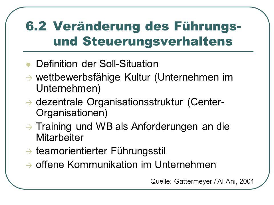 6.2 Veränderung des Führungs- und Steuerungsverhaltens