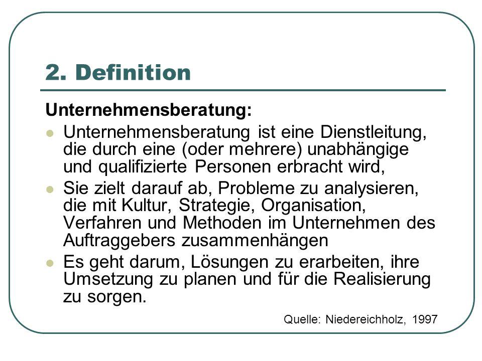 2. Definition Unternehmensberatung: