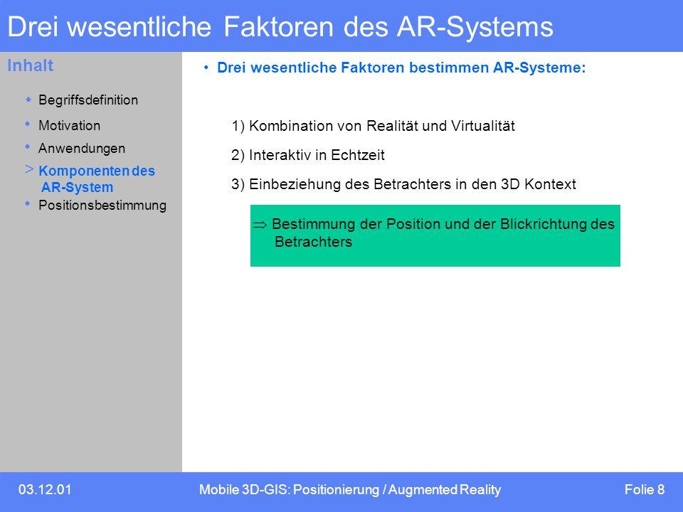 Drei wesentliche Faktoren des AR-Systems