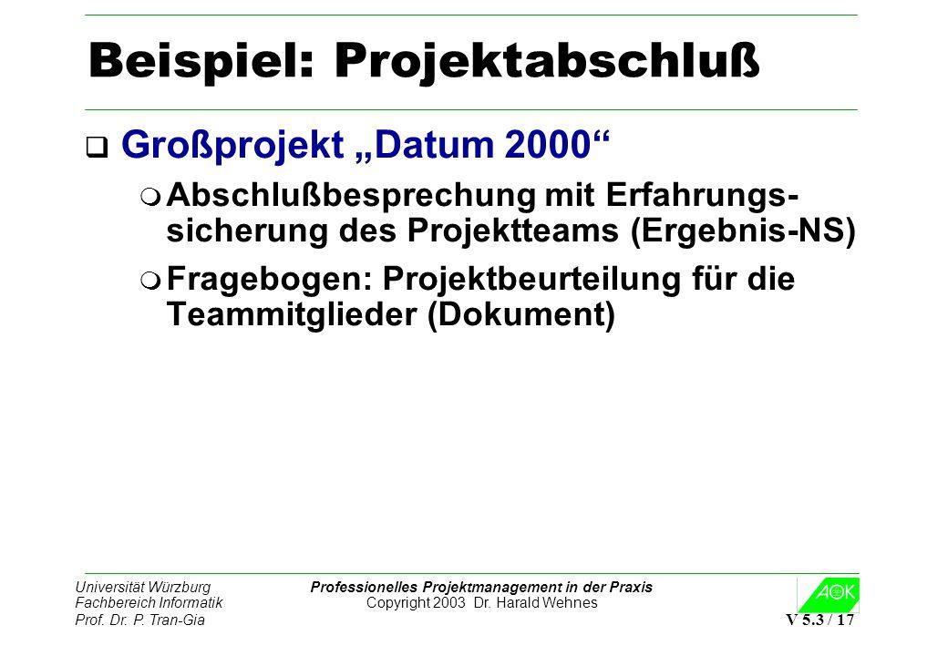 Beispiel: Projektabschluß