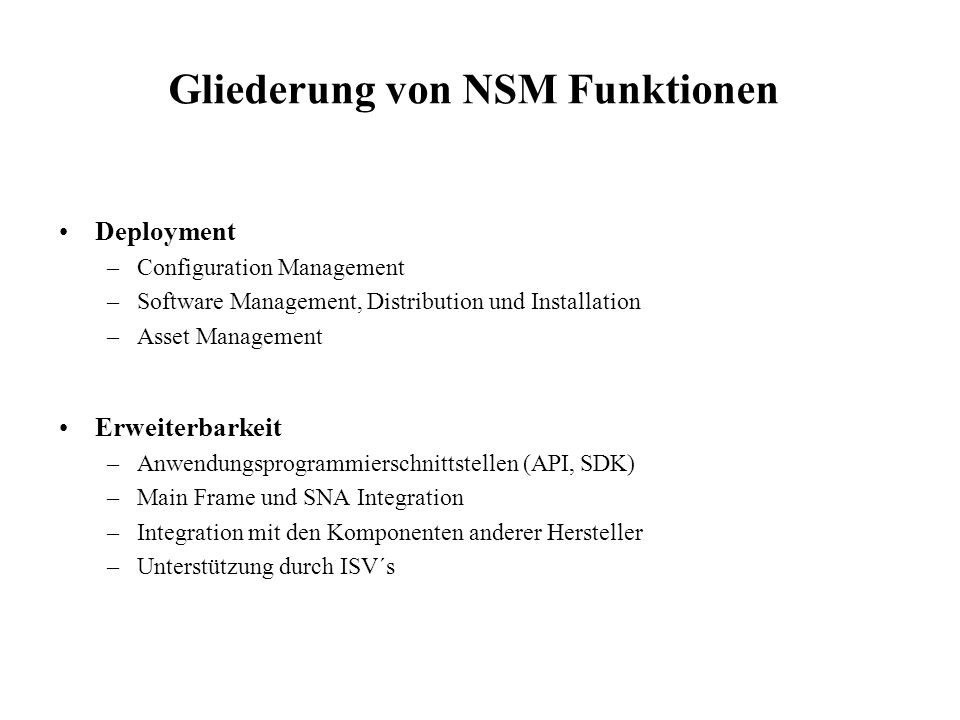 Gliederung von NSM Funktionen