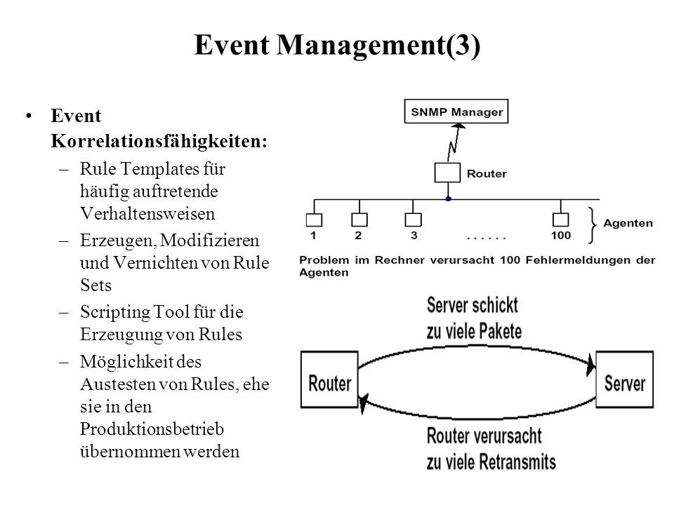 Event Management(3) Event Korrelationsfähigkeiten: