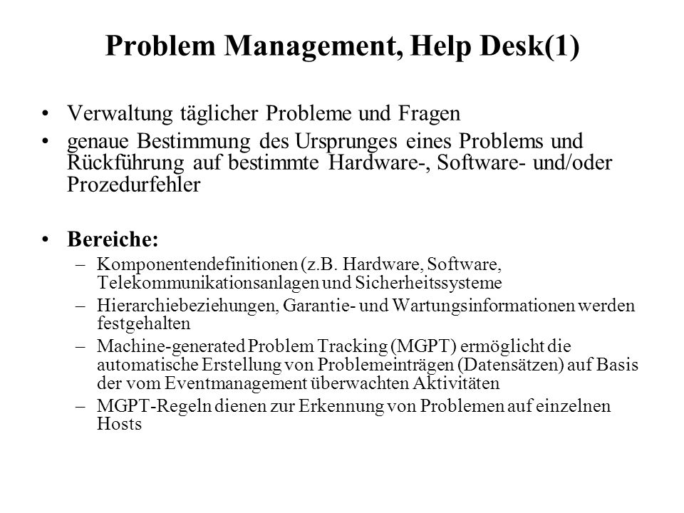 Problem Management, Help Desk(1)
