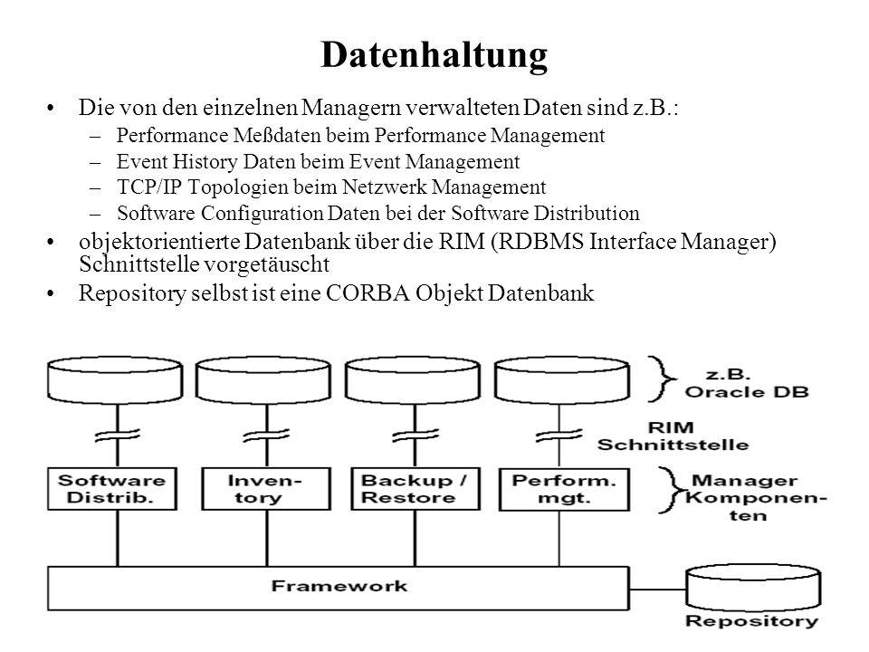 Datenhaltung Die von den einzelnen Managern verwalteten Daten sind z.B.: Performance Meßdaten beim Performance Management.