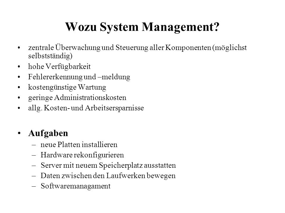 Wozu System Management