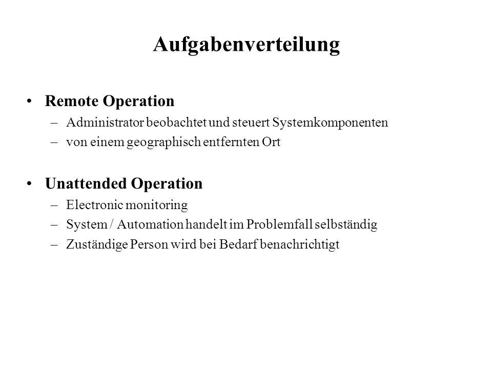 Aufgabenverteilung Remote Operation Unattended Operation
