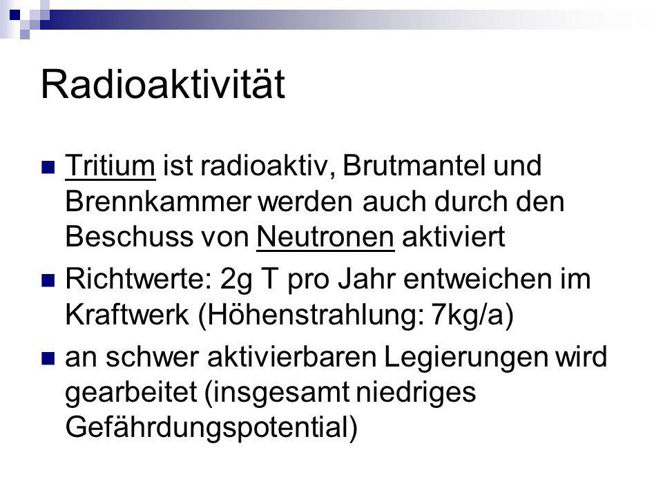 Radioaktivität Tritium ist radioaktiv, Brutmantel und Brennkammer werden auch durch den Beschuss von Neutronen aktiviert.