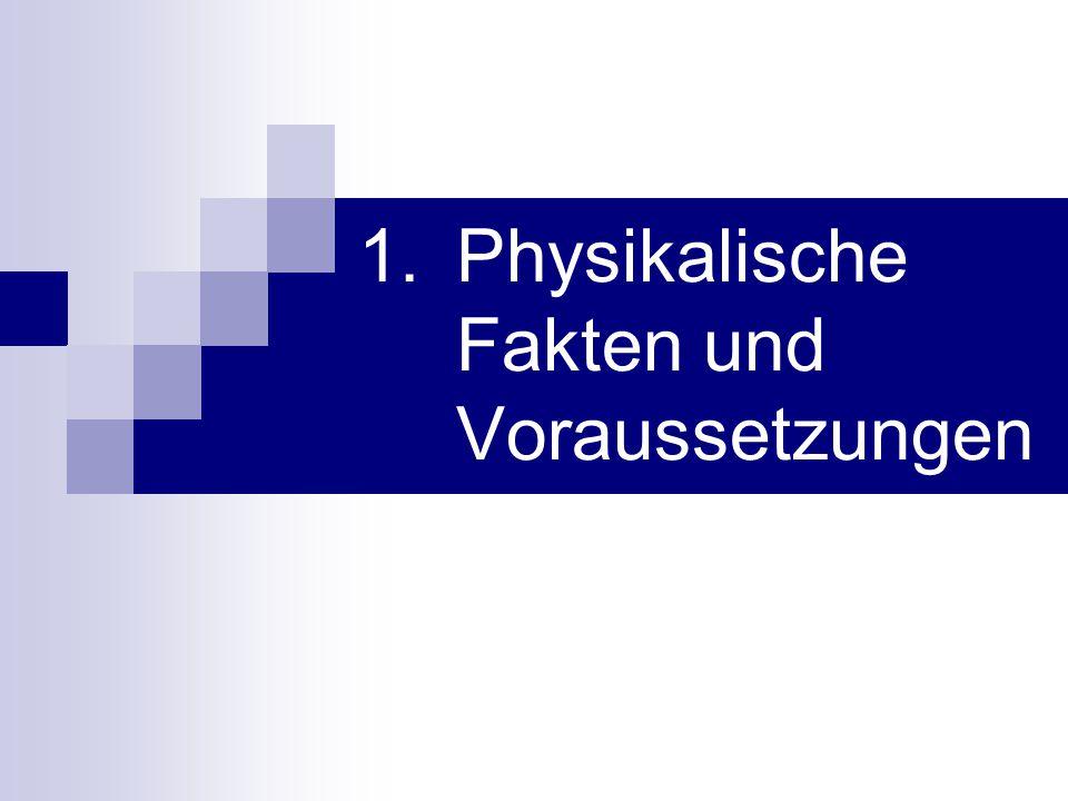 Physikalische Fakten und Voraussetzungen