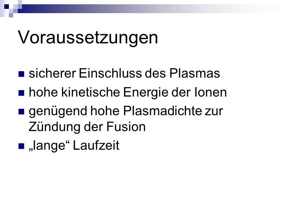 Voraussetzungen sicherer Einschluss des Plasmas