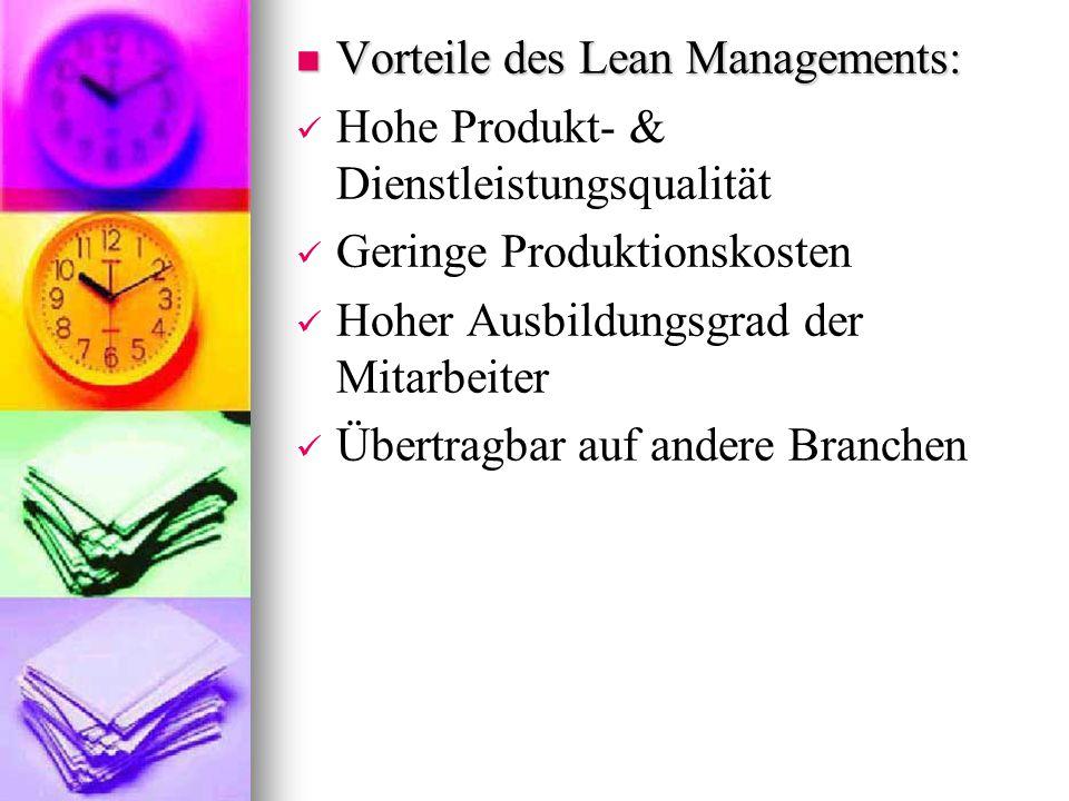 Vorteile des Lean Managements:
