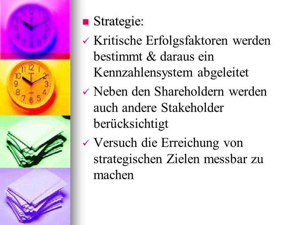 Strategie: Kritische Erfolgsfaktoren werden bestimmt & daraus ein Kennzahlensystem abgeleitet.