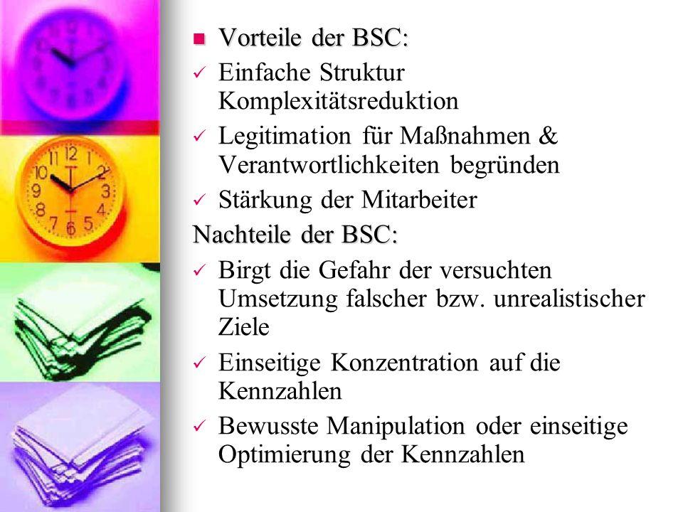 Vorteile der BSC: Einfache Struktur Komplexitätsreduktion. Legitimation für Maßnahmen & Verantwortlichkeiten begründen.