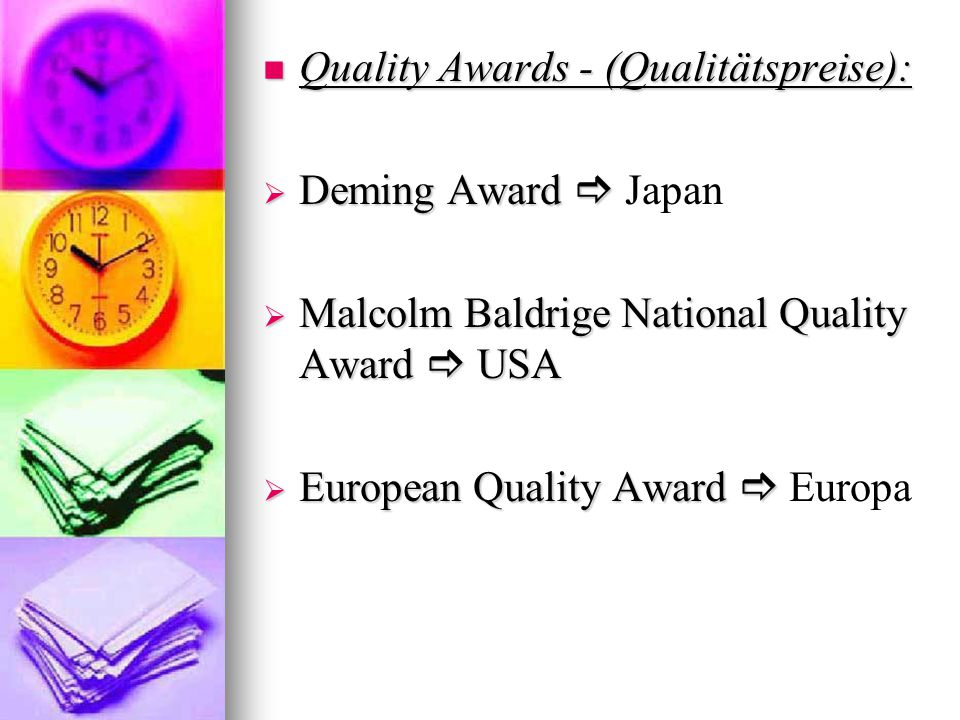 Quality Awards - (Qualitätspreise):