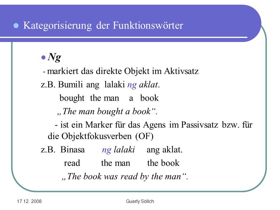 Kategorisierung der Funktionswörter Ng