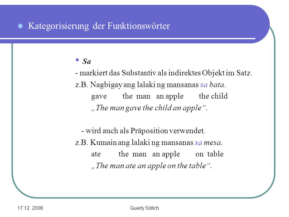 Kategorisierung der Funktionswörter