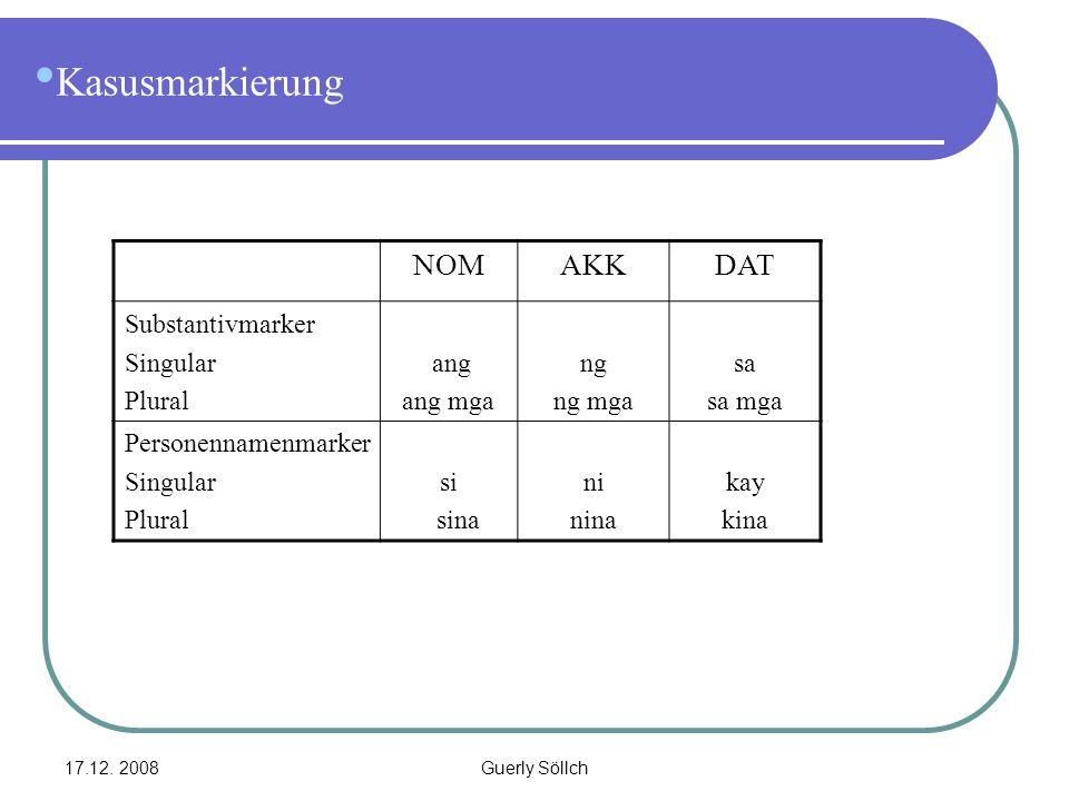 Kasusmarkierung NOM AKK DAT Substantivmarker Singular Plural ang