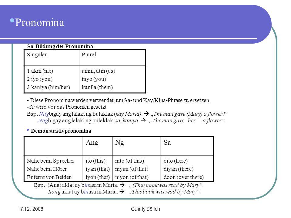 Pronomina Ang Ng Sa Sa-Bildung der Pronomina Singular Plural