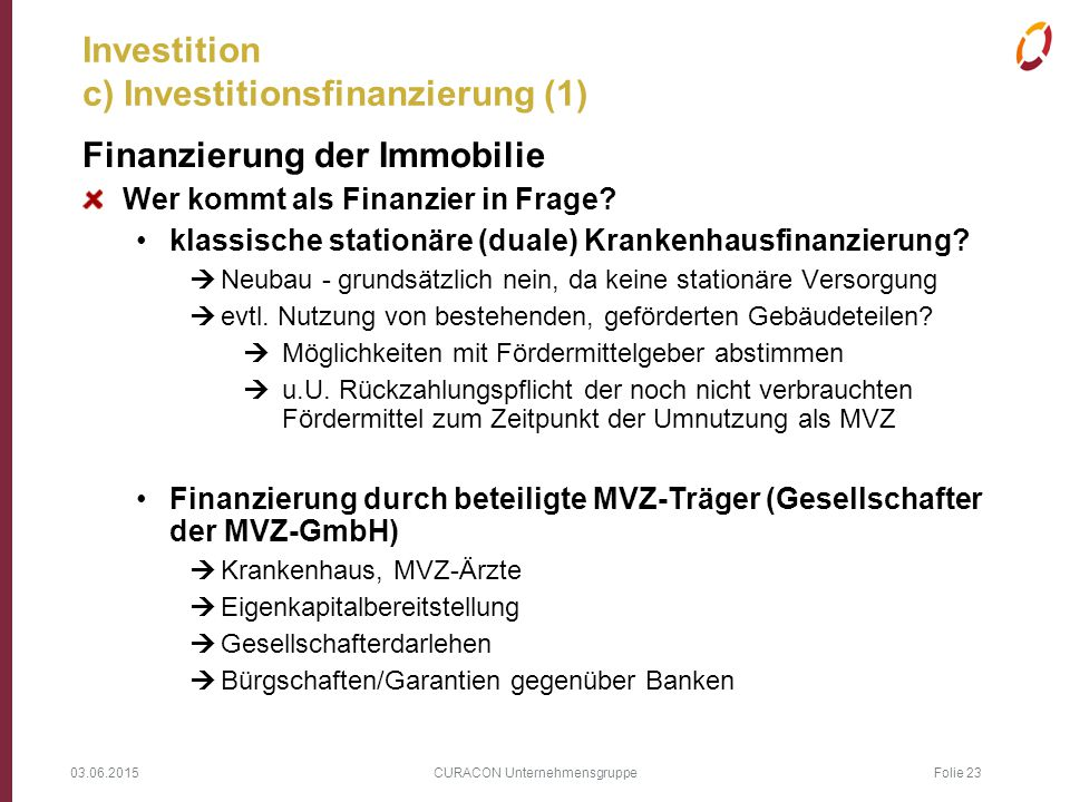 Investition c) Investitionsfinanzierung (1)