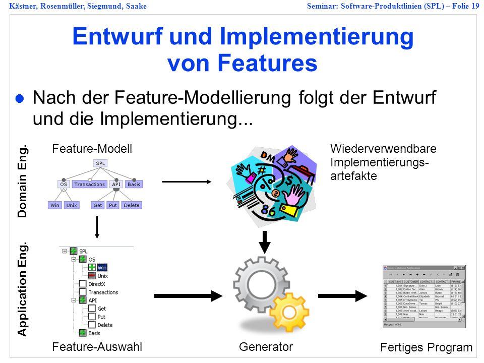 Entwurf und Implementierung von Features