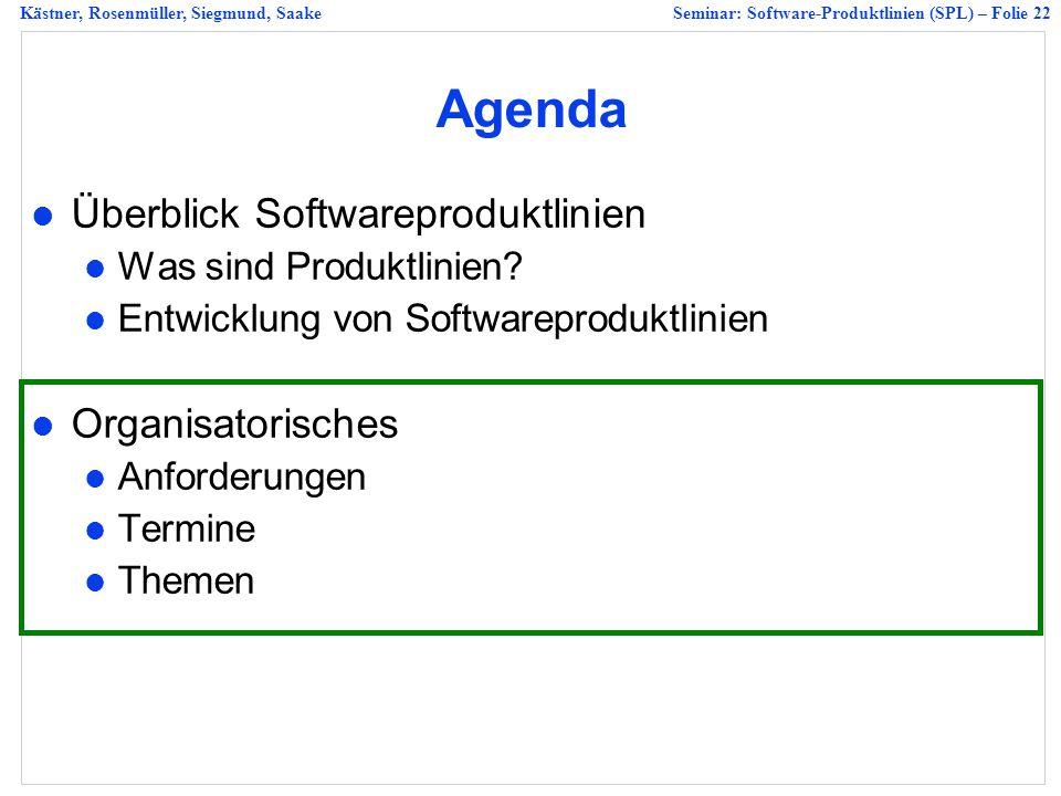 Agenda Überblick Softwareproduktlinien Organisatorisches
