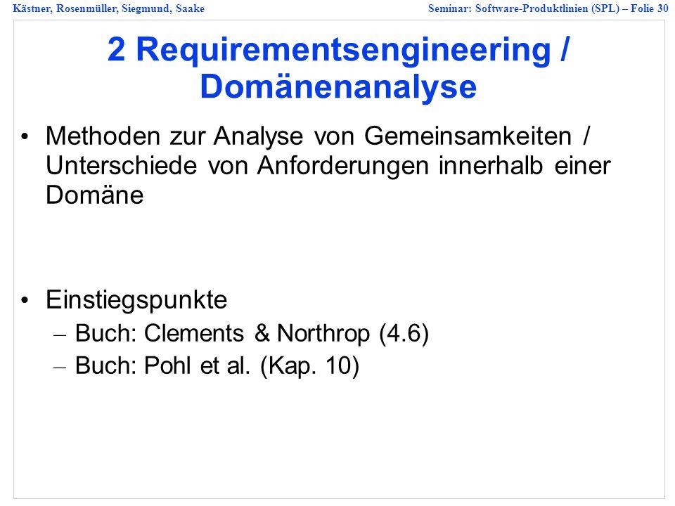 2 Requirementsengineering / Domänenanalyse