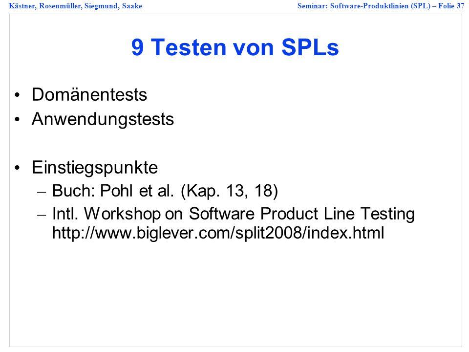 9 Testen von SPLs Domänentests Anwendungstests Einstiegspunkte