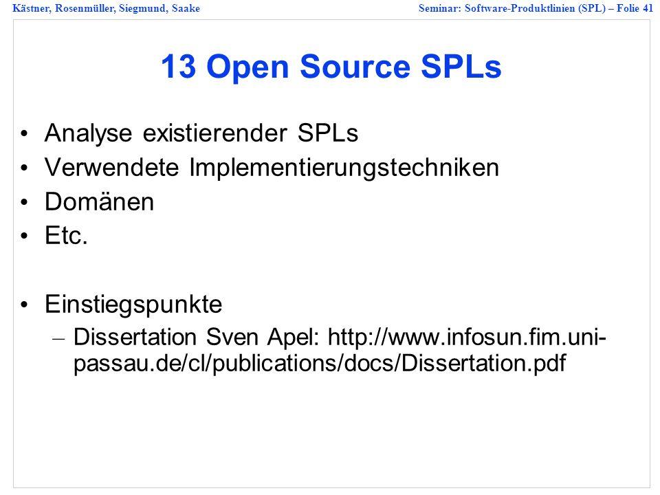 13 Open Source SPLs Analyse existierender SPLs