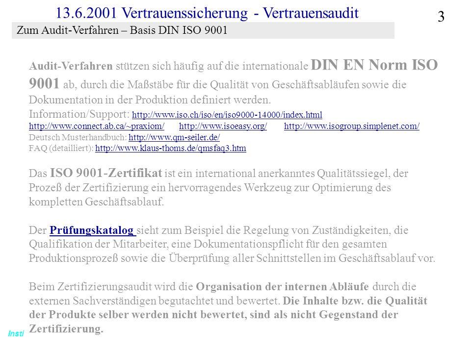 Zum Audit-Verfahren – Basis DIN ISO 9001