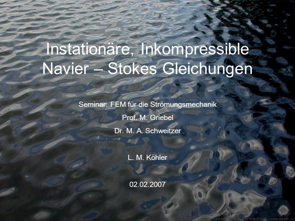Instationäre, Inkompressible Navier – Stokes Gleichungen