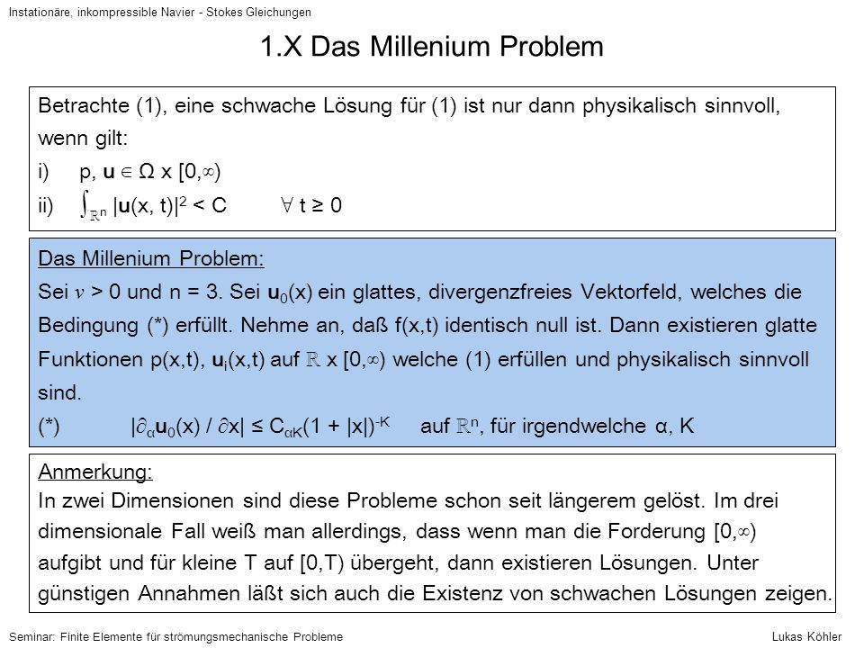 1.X Das Millenium Problem