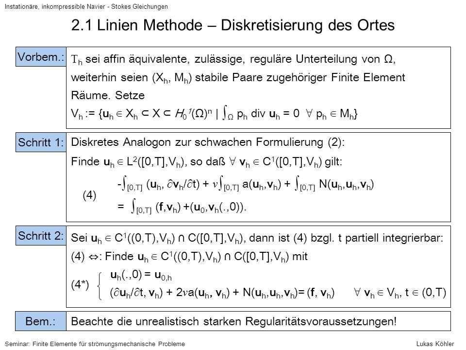 2.1 Linien Methode – Diskretisierung des Ortes