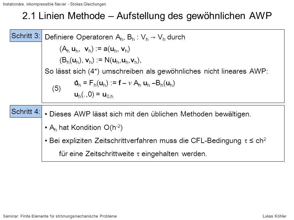 2.1 Linien Methode – Aufstellung des gewöhnlichen AWP