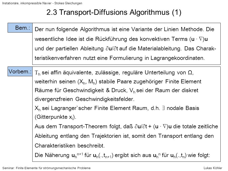2.3 Transport-Diffusions Algorithmus (1)