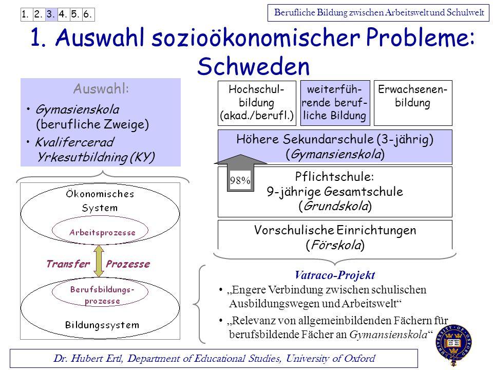 1. Auswahl sozioökonomischer Probleme: Schweden