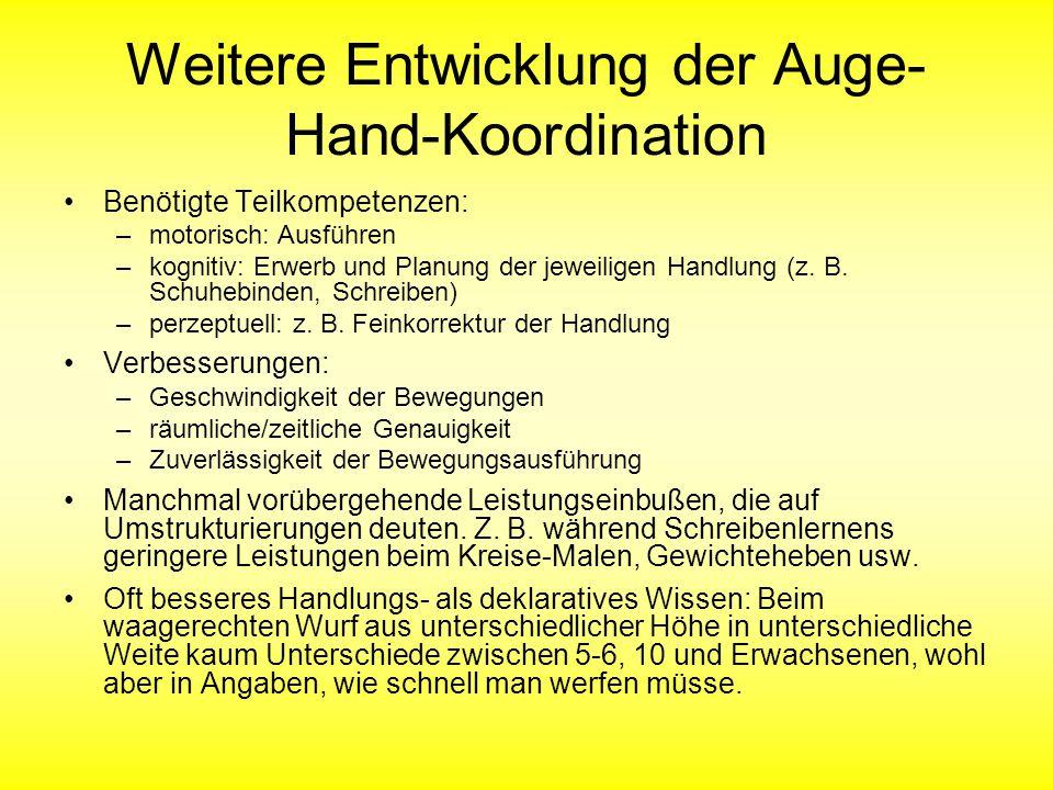 Weitere Entwicklung der Auge-Hand-Koordination