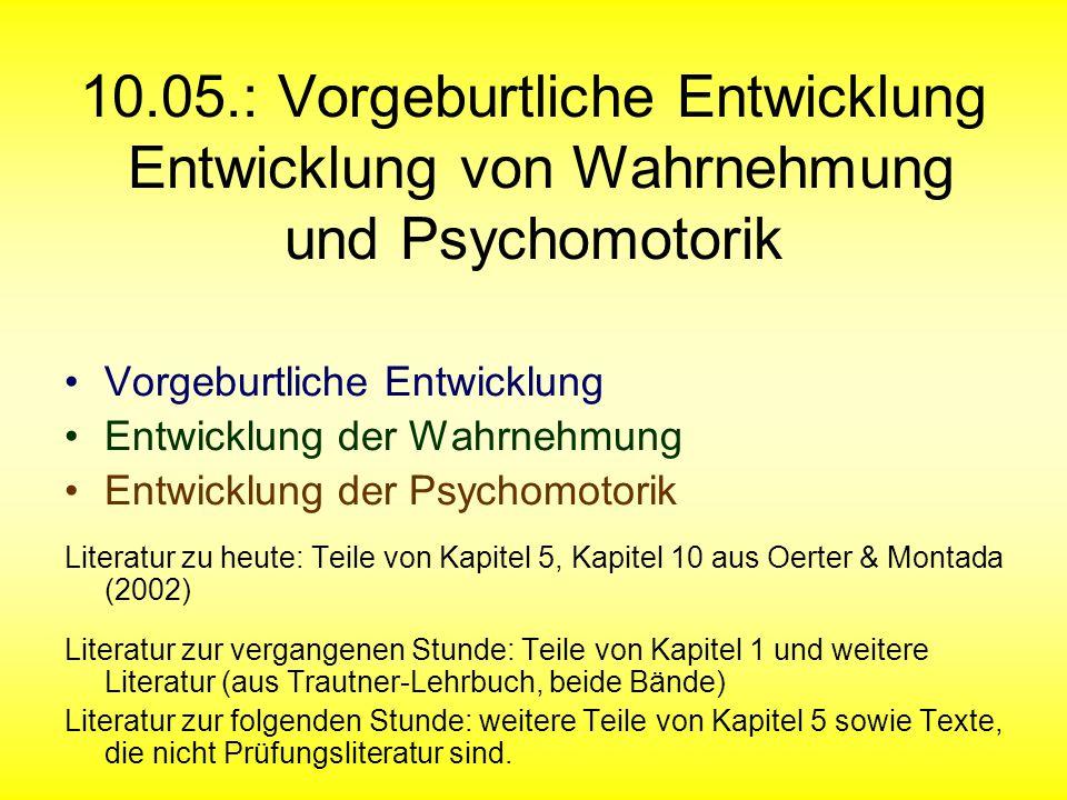10.05.: Vorgeburtliche Entwicklung Entwicklung von Wahrnehmung und Psychomotorik