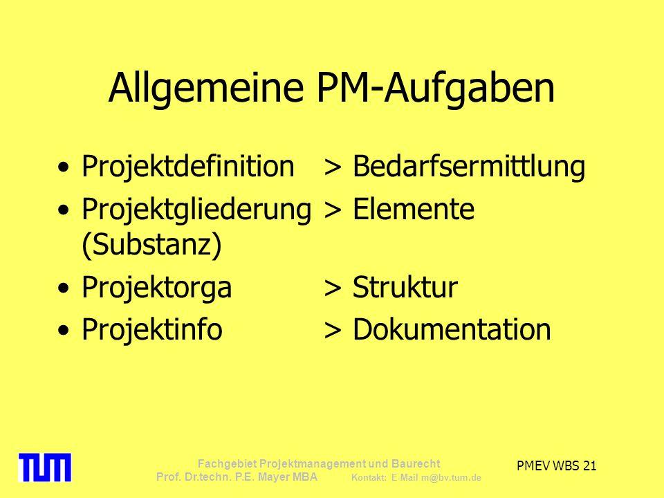 Allgemeine PM-Aufgaben