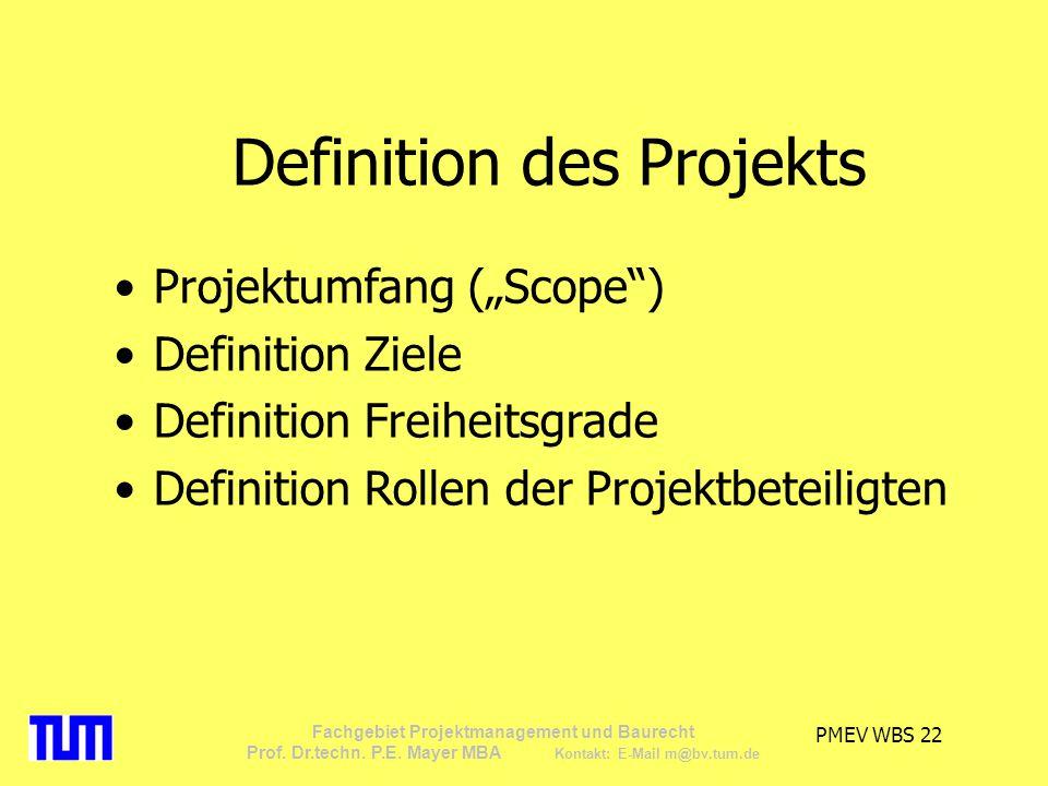 Definition des Projekts