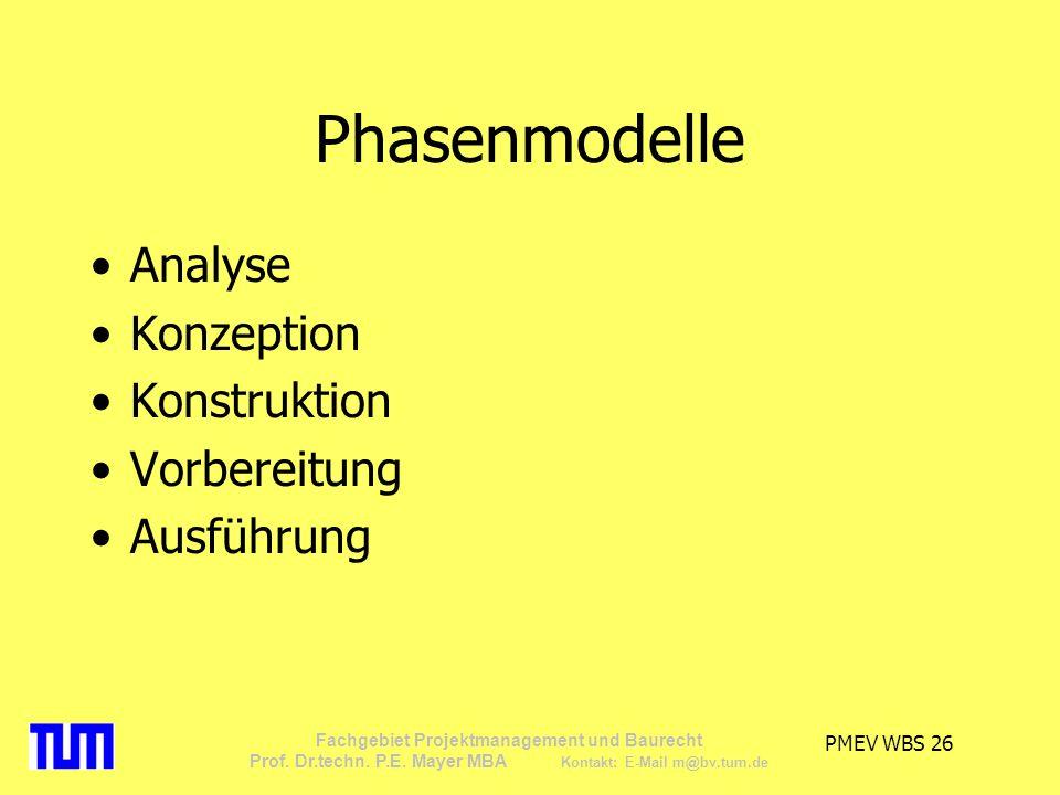 Phasenmodelle Analyse Konzeption Konstruktion Vorbereitung Ausführung