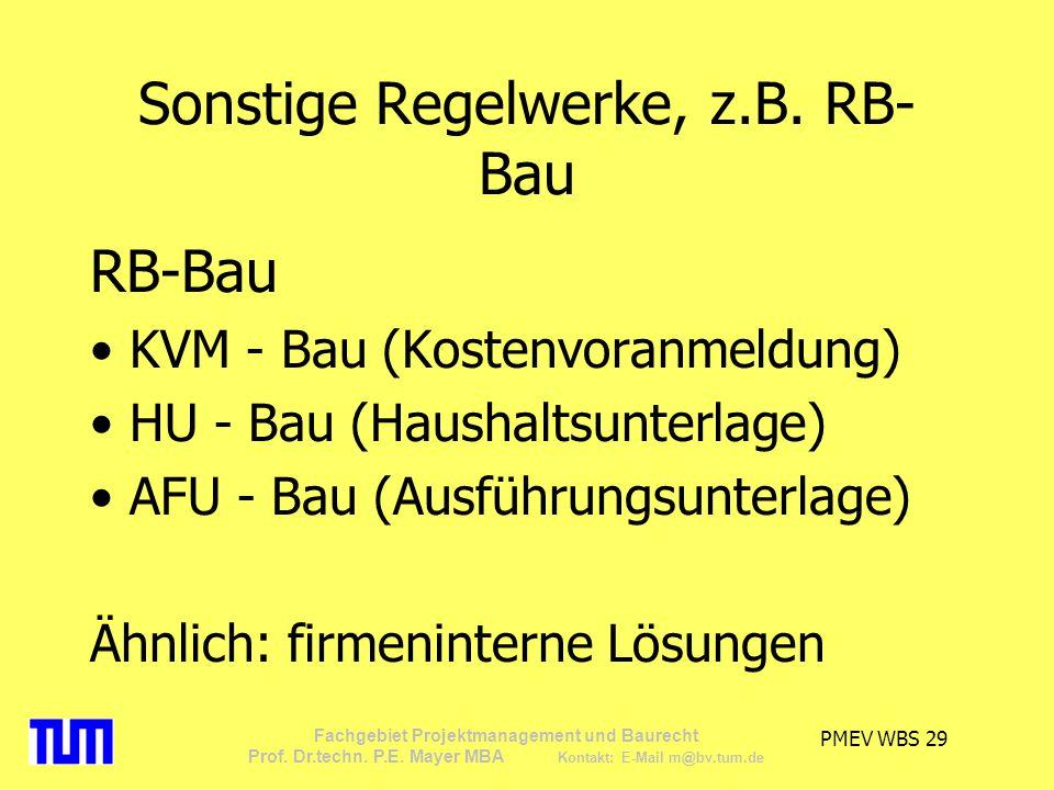 Sonstige Regelwerke, z.B. RB-Bau