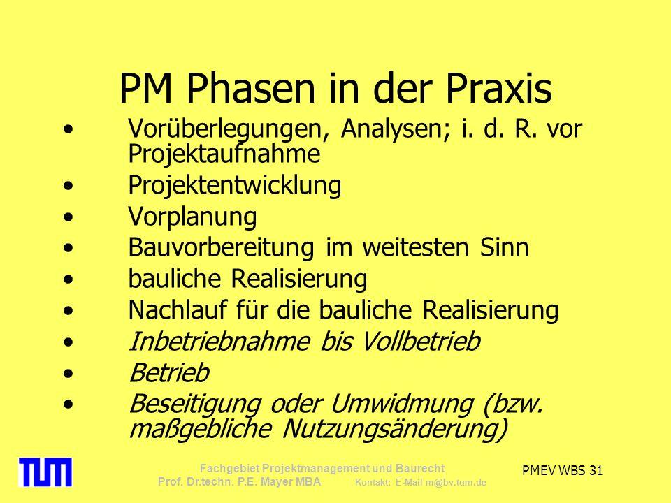 PM Phasen in der Praxis Vorüberlegungen, Analysen; i. d. R. vor Projektaufnahme. Projektentwicklung.