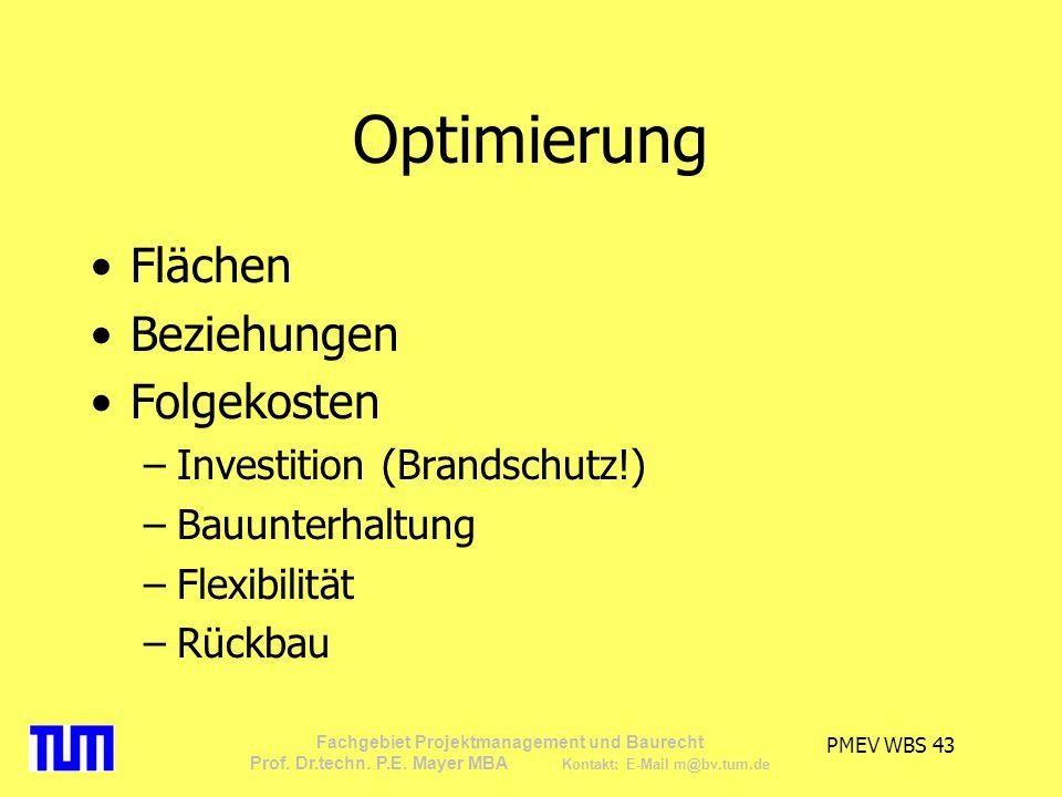 Optimierung Flächen Beziehungen Folgekosten Investition (Brandschutz!)