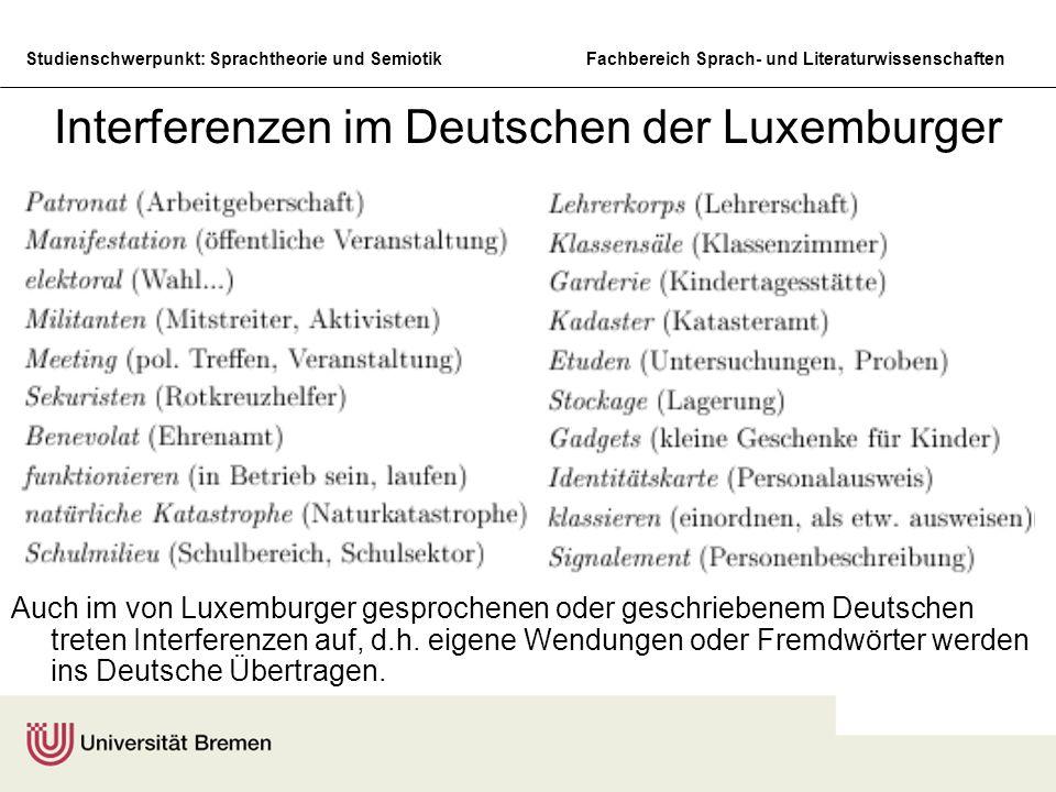 Interferenzen im Deutschen der Luxemburger