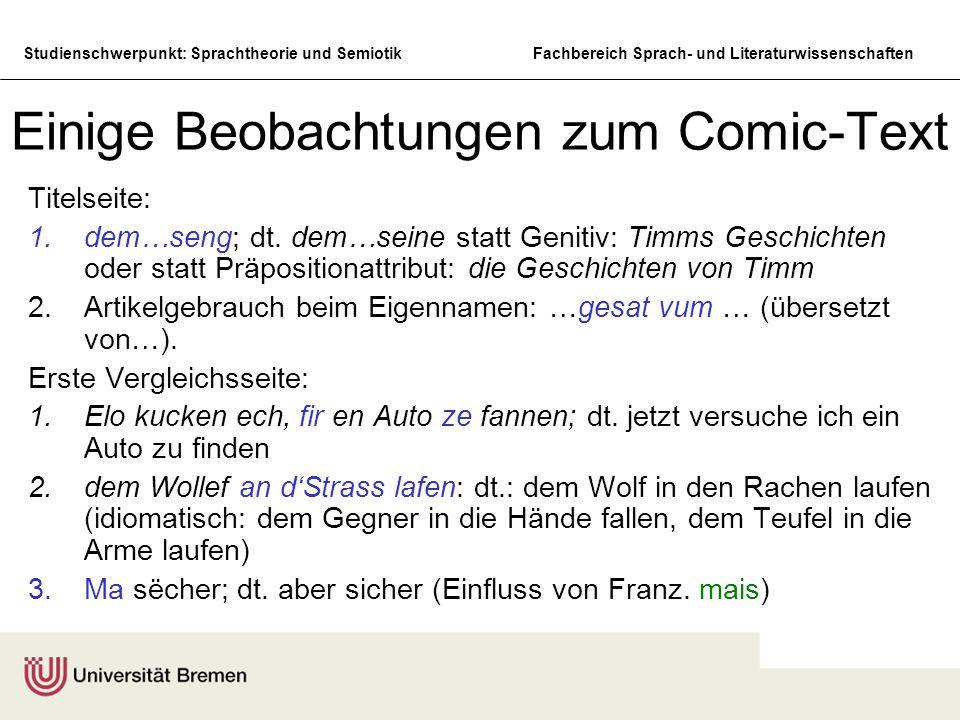 Einige Beobachtungen zum Comic-Text