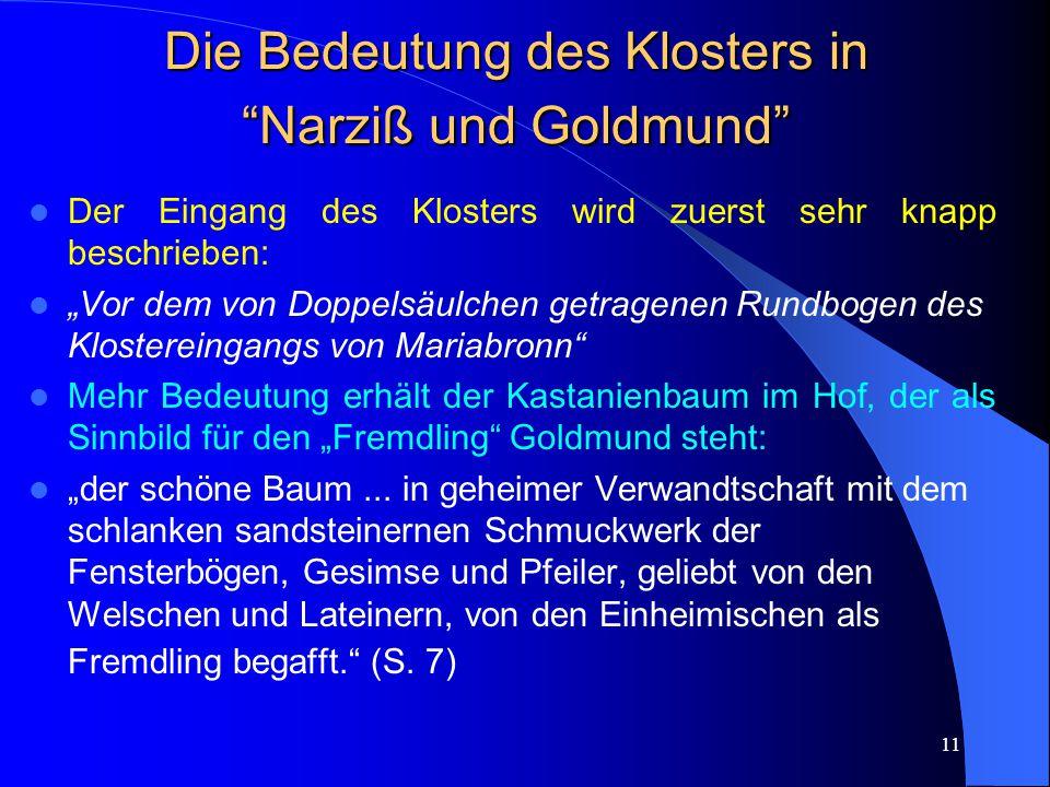 Die Bedeutung des Klosters in Narziß und Goldmund