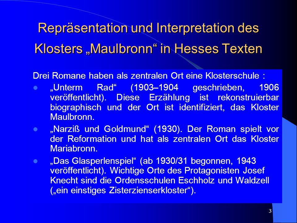 "Repräsentation und Interpretation des Klosters ""Maulbronn in Hesses Texten"