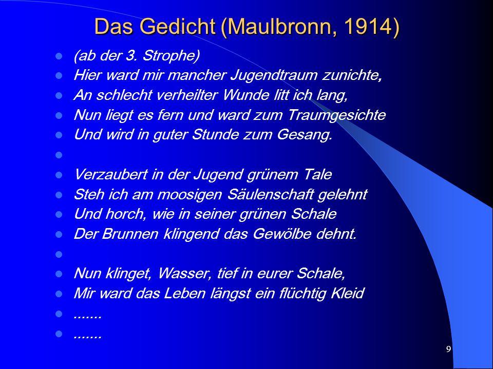 Das Gedicht (Maulbronn, 1914)