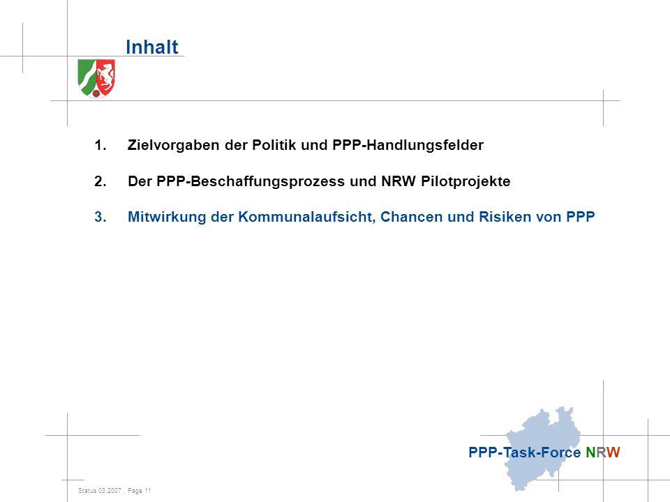 Inhalt Zielvorgaben der Politik und PPP-Handlungsfelder
